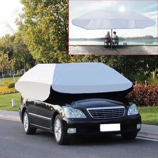 Su geçirmez Anti UV Tam Otomatik Açık Araba Araç Çadır Şemsiye Güneşlik Çatı Kapak Araba Şemsiye Güneş Gölge Bez Değiştirilebilir