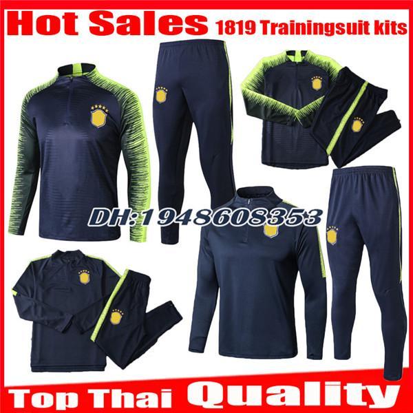 2018 2019 Chándal de traje de entrenamiento Fútbol Jersey Brasil P.COUTINHO PELE MARCELO RONALDINHO camisas chaqueta kits de entrenamiento Trajes de fútbol