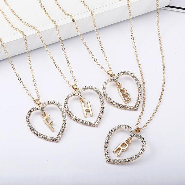 Donne Strass intarsiato cuore della cavità catena B F H R regalo collana pendente della lettera