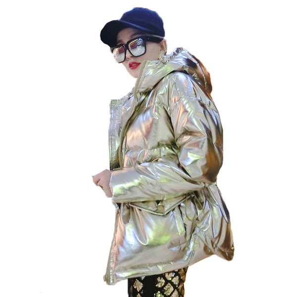 Autumn Parka Coat Women Winter Down Jacket Hooded Glossy Metal Short Jacket Loose Down Cotton Coat Women Outwear Streetwear 888