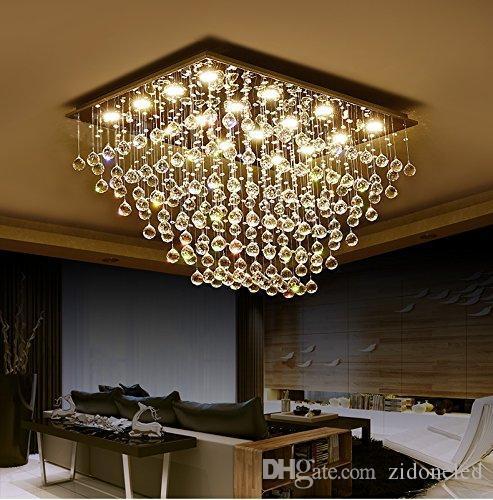 Modern Square K9 Crystal Raindrop Chandelier Lighting Flush Mount LED Ceiling Light Fixture for Dining Room Bathroom Bedroom Livingroom