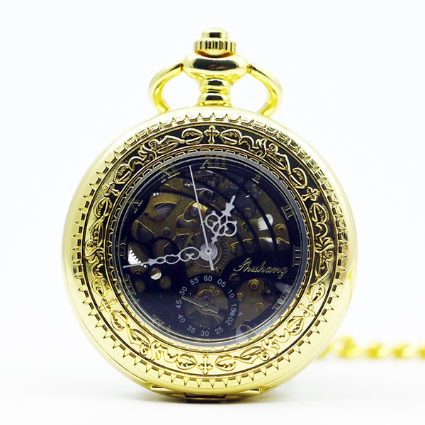 Fashion Golden Skeleton Roman Dial Alloy Case Analog Hand Wind Clock Steampunk Mechanical Pocket Watch For Men Women PJX1291