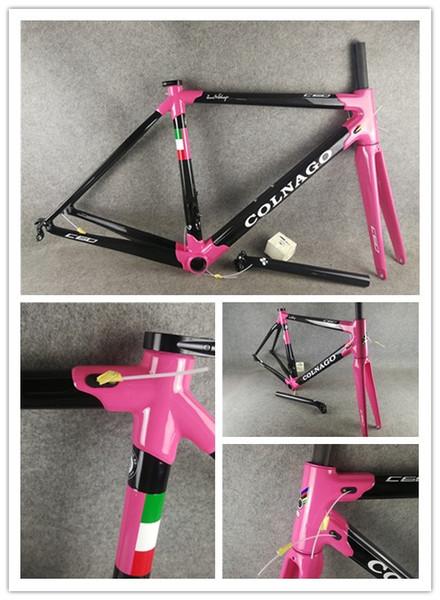 Design cor-de-rosa Colnago C60 Bicicleta de estrada tamanho do quadro 52/54/56 cm Conjunto completo de quadros de bicicleta de estrada de fibra de carbono