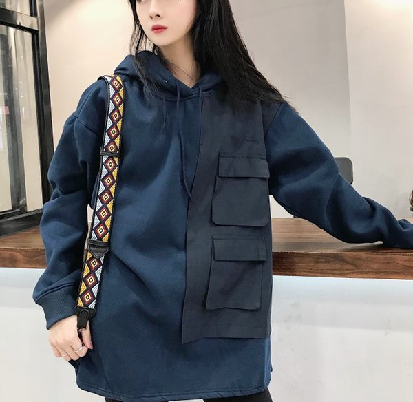 Конструктор мужского Woemens 2019 Новый бренд карманных Толстовки вскользь с длинного рукавом Блузы Топ высокого качества Толстовка Толстовка M-2XL B101324Q