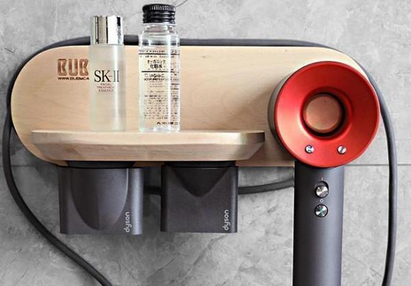 YÜKSEK kalite Gerçek Dysondryers saç kurutma braket masif ahşap askı raf raf delinmesi ücretsiz saç kurutma depolama sıcak satış raf