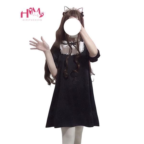 2019 Japanese Cute Fashion Black Dress Women Korean Kawaii Bow Lace Gothic Harajuku Style Stand Collar Girls Lolita Mini Dress Y19051001