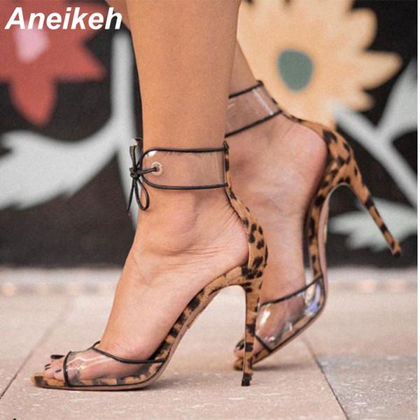 Toptan Kadınlar Seksi Leopar Deri Burnu açık Ayakkabı Sığ Cut Dantel-up Kaplı Topuk Stiletto Topuklu PVC Elbise Ayakkabı Boyutu 35-40