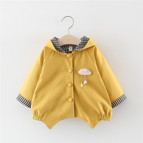 top popular 2019 kids clothes Autumn solid color cloud accessories single-breasted windbreaker 2019