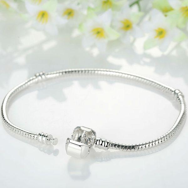 2019 s925 Pandora Style Rose Gold Color & Silver Snake Chain Bracelets DIY Bracelet Jewelry 16CM-23CM 8 Size Choice Free Shipping