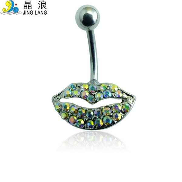 Lip Shape Belly Button Ring For Women Body Piecing JewelryNew Style! DIY High Quality Fashion Silver Surgical Steel Colorful Rhinestone