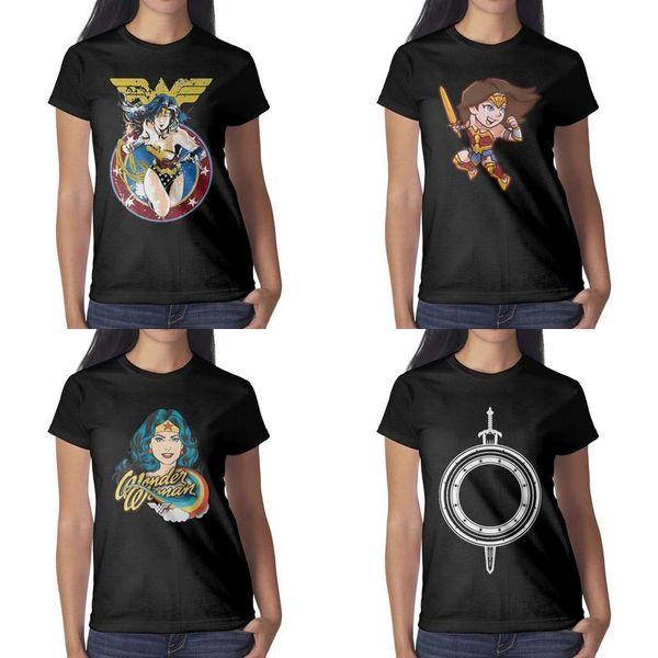Womens design printing Wonder Woman Sword and Shield black t shirt funny vintage superhero friends shirts hip hop shirt cotton emblem