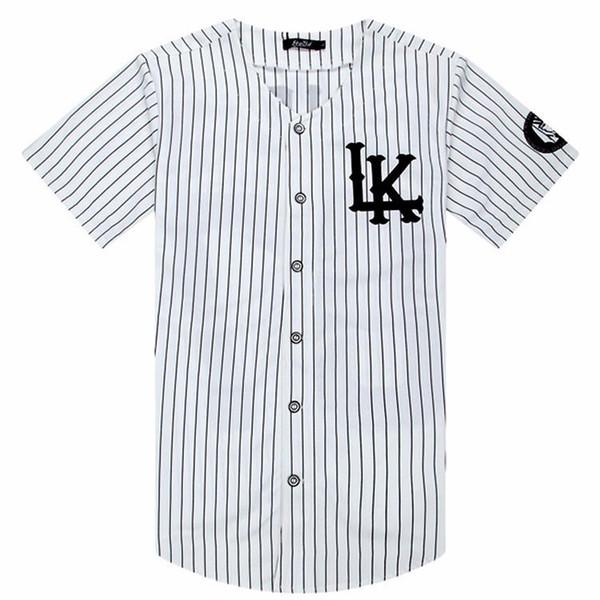 2018-2019 Sıcak Satılan Erkekler tişörtler Moda Streetwear Hip Hop Beyzbol Jersey Çizgili gömlek erkekler Giyim Tyga Son Kings Giyim Y200104