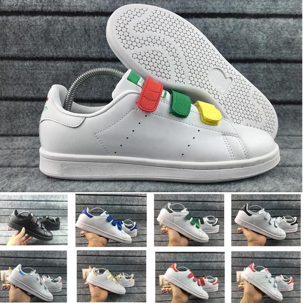 2018 Severler Stan Smith Erkek Kadın Ayakkabı Klasik Ayakkabı Yüksek kalite HOOk LOOP Toka Scarpe trafik ışığı Pembe Rahat Deri Spor Sneakers