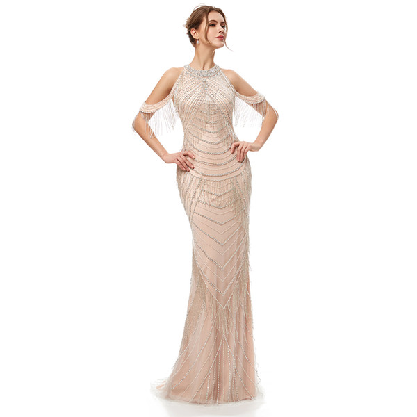 2019 Sexy Hot Luxury Beading Evening Dresses with Sequin Tassel Zipper Back See Through Bling Bling Celebrity Red Carpet Dress 5403