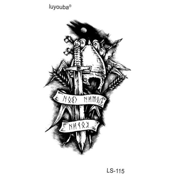 Sıcak 100 ADET / GRUP Ölümsüz Şövalye Su Geçirmez Geçici Dövmeler Erkekler Savaşçı Tatouage Temporaire Femme Dövme Geçici Çıkartmalar