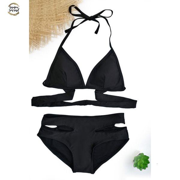 Maillots de bain 2019 Push Up Bikinis sexy noir Bandage design Halter Bikini femmes taille haute Femmes Natation D083