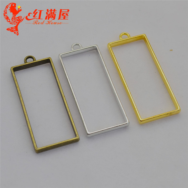 50pcs 20*49MM Antique bronze hollowed out geometric rectangular shape charms gold glue metal frame blank hollow pendants DIY jewelry making
