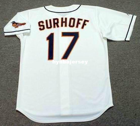 Barato personalizado BJ SURHOFF Baltimore cosido 1999 Majestic Vintage Home Baseball Jersey Retro Mens Jerseys Running