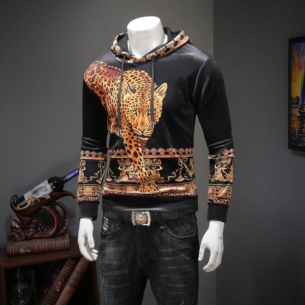 2018 год мужской свитер зима новый плюс бархат с капюшоном рубашки личности животных печати Корейский бархат тонкий свитер прилива