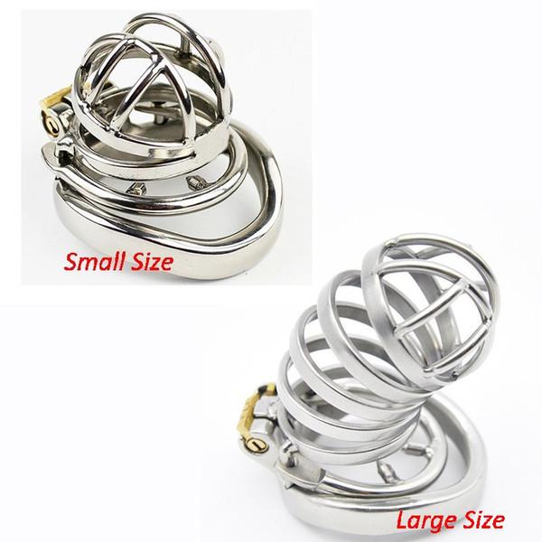 Dispositivo di castità maschio eccellente dell'acciaio inossidabile della gabbia di castità maschio piccolo con i giocattoli del sesso dell'anello del rubinetto anti-fuori per gli uomini