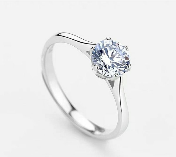 Pure silver ring set white gold female fashion and retro minimalist fresh hipster light luxury simple