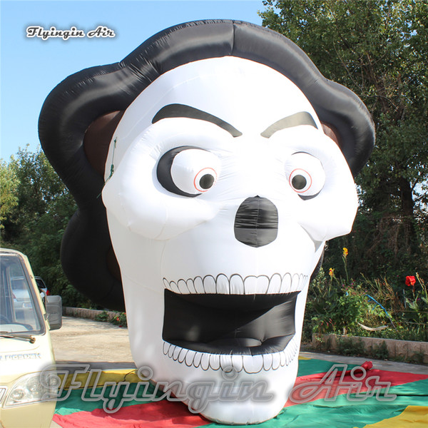Customized Scary Lighting Halloween Inflatable Ghost Skull 3m/4m Height Large Mask Man For Party Night Decoration