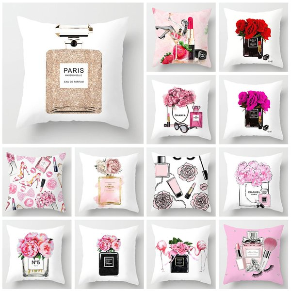 Pillow Cover 45x45cm Hand painted Flowers Perfume Bottles Super Soft Cushion cover sofa pillow case Home decorative