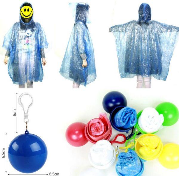 Creative Raincoat Plastic Ball Key Chain Disposable Portable Raincoats Rain Covers House keeping Travel Hiking Camping Rain Wear #YY06