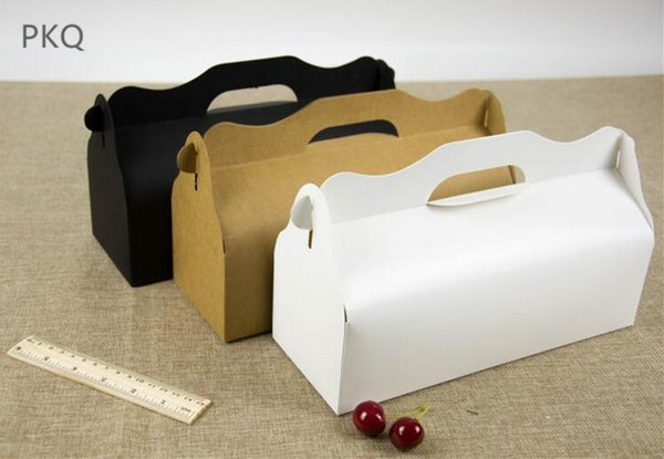 Long cupcake box with handle Roll Cake Kraft Paper Gift Packaging box wedding kids Birthday home Party supplier 27.5x10.5x7.5cm