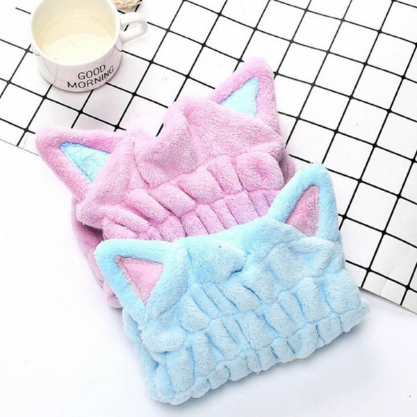 Thicken Cute Cat Microfiber Hair-drying Towel Women Girl Bath Cap Strong Absorbing Drying Long Soft Special Dry Hair Cap Towel