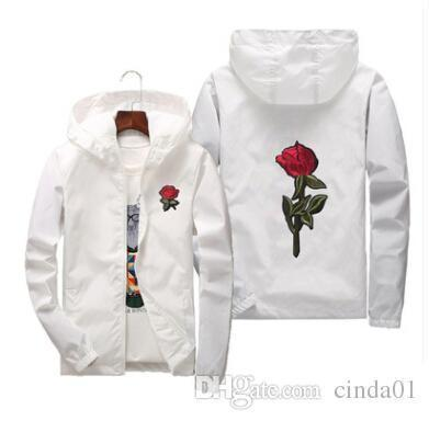 Red Rose Printed Casual Jackets Men Women Hooded Windbreaker Male Female Solid Color Embroidery Coats Asian Size S-6XL