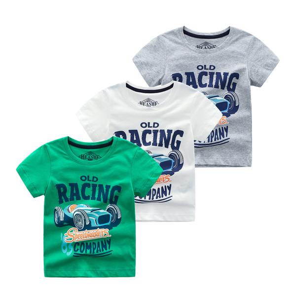Foreign trade children's wear t-shirt 2019 summer cotton short-sleeved children's T-shirt in the children's car summer wholesale