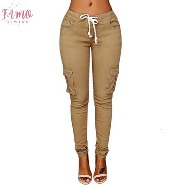 Printemps 2019 Longueur du genou lacent taille femme Pantalons simple Pantalons Crayon solides Poches Multi Plus Size droites Pantalons slim