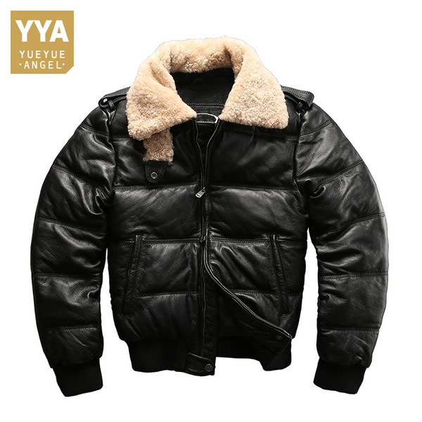 Lamb Fur Collar Genuine Leather Jackets Motorcycle Riding Sheepskin Real Leather Down Jacket Men Winter Fashion Luxury Coat Male