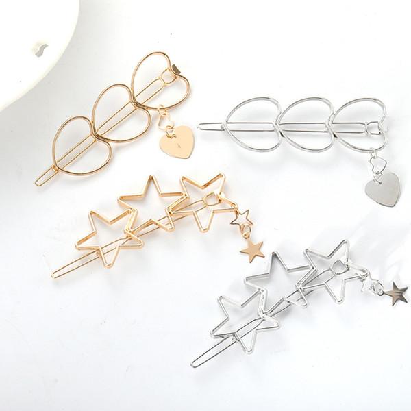 Nueva joyería de moda dulce clips hueco de la estrella del pelo de la horquilla de amor para las mujeres Mujer accesorios nupciales del pelo al por mayor de