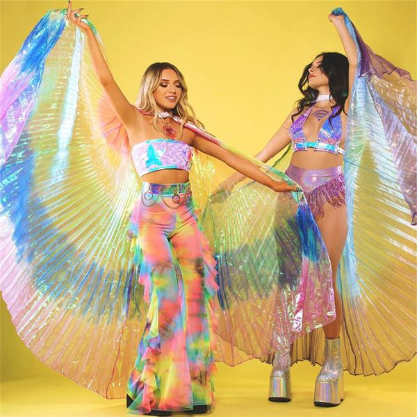 Glänzend bunt transparent einstellbar sexy frauen flügel bauchtanz rave festival performance fashion butterfly wings zubehör