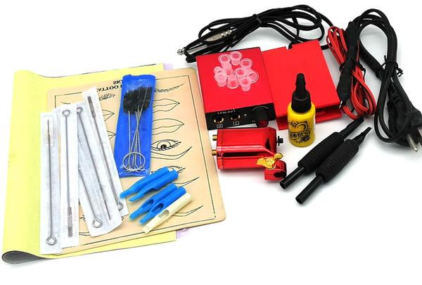 Kit complet Tattoo Machines 1Tattoo Gun jaune d'alimentation d'alimentation en encre Poignées Body Art Ensemble Outils de maquillage permanent set Tattoo Tattoo