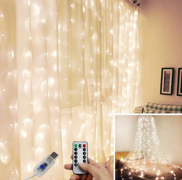 control remoto 2019 selll USB caliente 3 * 3 m de cobre cadena de luces de la lámpara del alambre cortina de luz www xxx com boda de Navidad