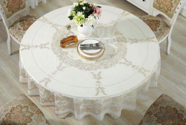 180 cm de diamètre étanche couverture de table PVC table en tissu résistant à l'huile pour les ménages Tablecloth pour le mariage Hôtel Table ronde Bureau Banquet Salle