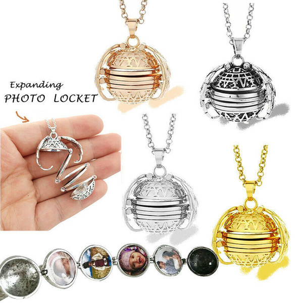 Magic 4 Photo Pendant Memory Floating Locket Necklace Angel Wings Flash Box Fashion Album Box Necklaces 4 Colors