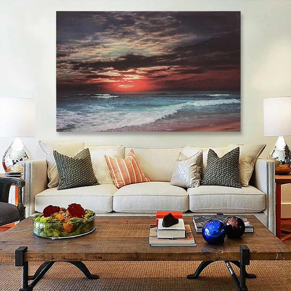 3 Size Framed Sea Beach Sunset Sand Ocean Abstract Canvas Print Paintings Wall Art Picture Poster Home Bedroom Living Room Decor