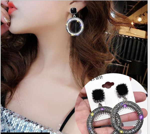 best selling Korean diamond large circle earrings femininity personality retro geometric earrings