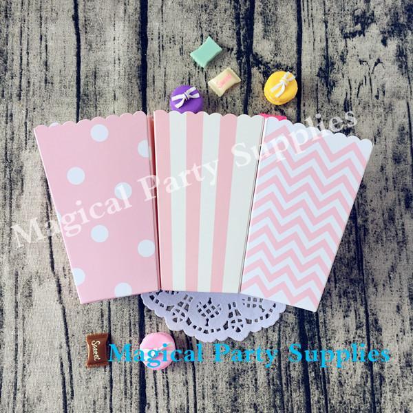 36pcs scatola di carta rosa baby shower pop corn scatole regalo di compleanno della ragazza 3 stili chevron striscia pois a scegliere