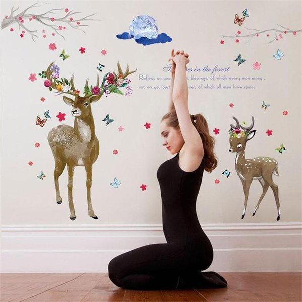 New 3D Animal Deer Flowers Squid Butterfly Wall Sticker Home Decor Bedroom Porch TV Sofa Wall Poster Self-adhesive PVC Art Mural