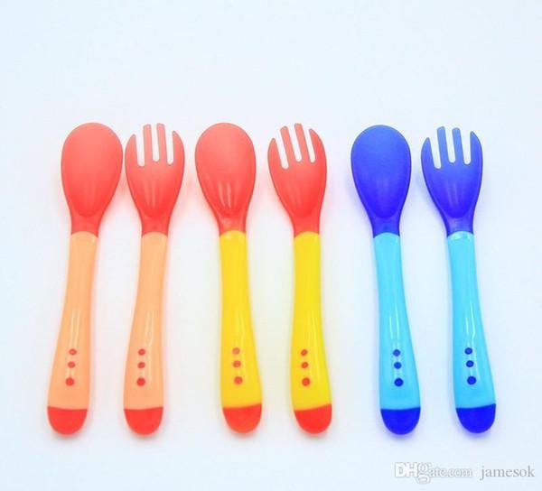best selling Baby Temperature Sensing Spoon and Fork Safety Feeding Flatware Baby Feeder Utensils Feeding Spoon Tableware c025