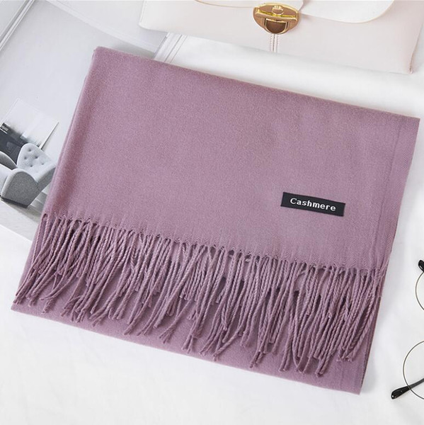 c587f7e74 hoe sale 2019 free shipping Mixed Cashmere Solid color Shawl Wrap Women's  Plain Scarf Soft Fringes Solid Scarf Size:200*70cm
