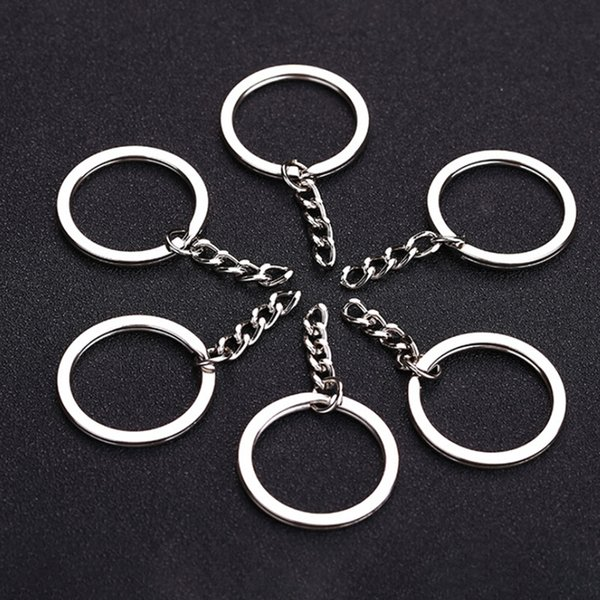 Cor de Prata polida 30mm Chaveiro Chaveiro Dividir Anel Com Cadeia Curta Anéis Chave Homens Mulheres DIY Chaveiros Acessórios 10 pcs