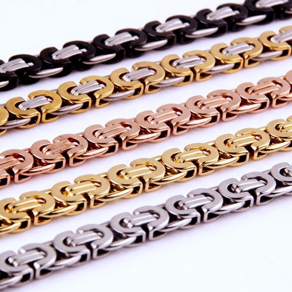 Mens jaune rempli d'or en acier inoxydable plat Byzantine lien chaîne 8mm collier noir mâle bijoux de mode cadeau d'anniversaire