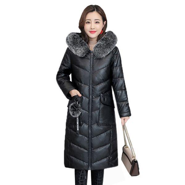 Winter Leather Jacket Women Slim Cotton Coat Fox fur collar Warm Hooded Outerwear 2019 New Fashion Large size Female Jacket FC36