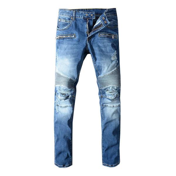 Fashion Streetwear Men Jeans Blue Large Size 29-42 Spliced Designer Ripped Robin Jeans For Men Multi Pockets Cargo Pants Biker Jeans Homme